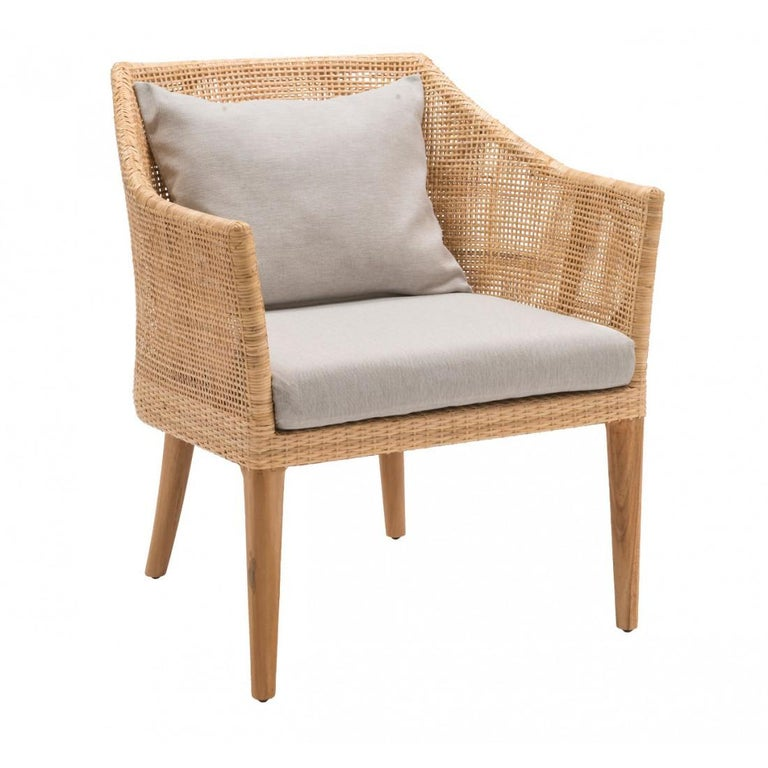 French Rattan And Teak Wooden Armchair For Sale