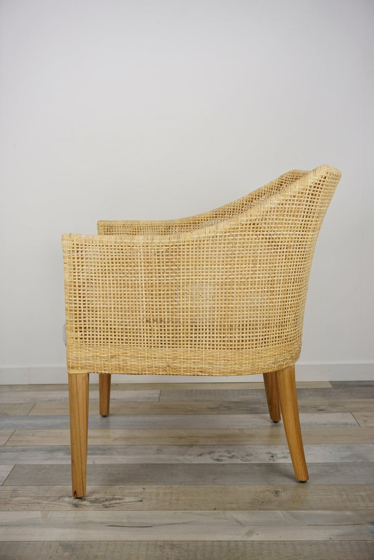 Rattan and Teak Wooden Armchair In New Condition For Sale In Halluin, FR