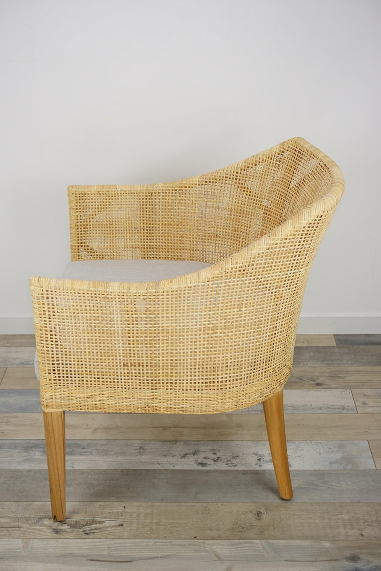 Contemporary Rattan and Teak Wooden Armchair For Sale