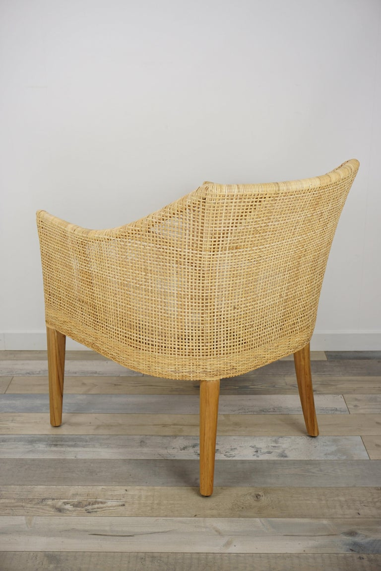 Rattan and Teak Wooden Armchair For Sale 1