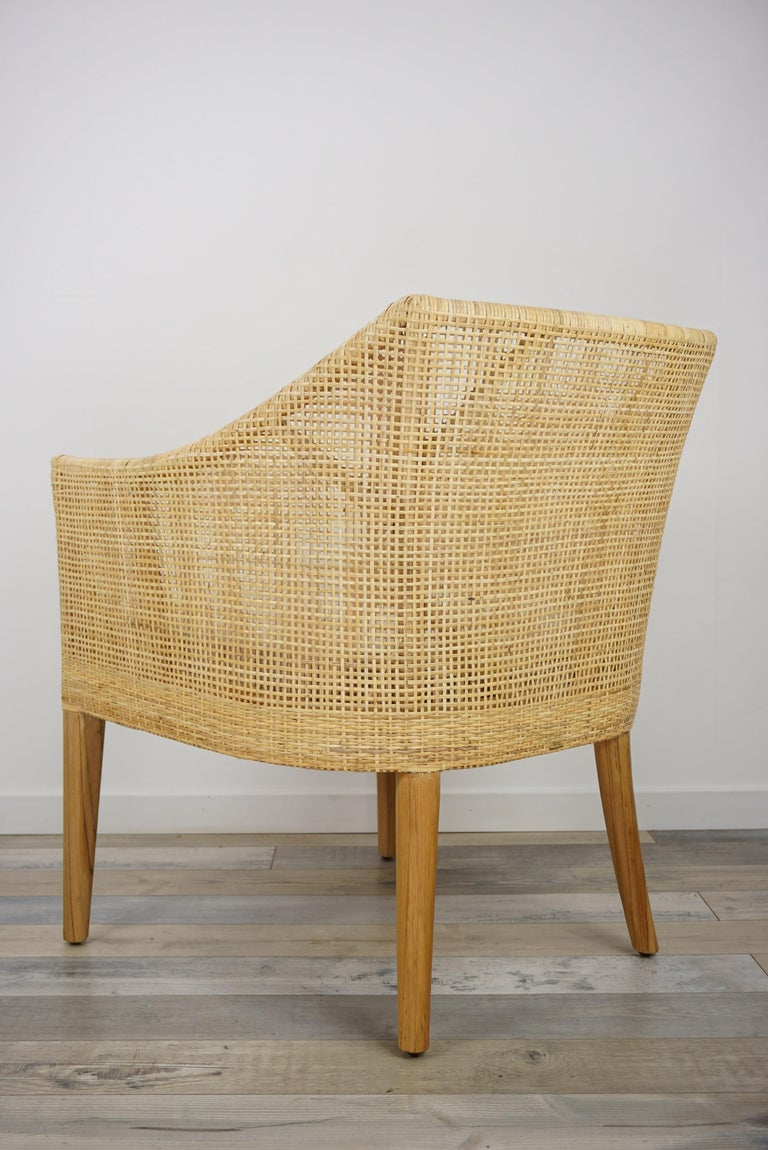 Rattan and Teak Wooden Armchair For Sale 2
