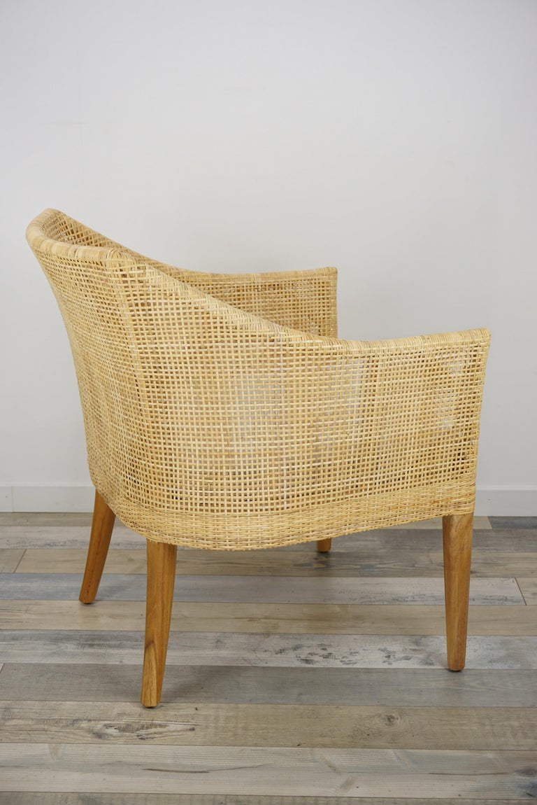 Rattan and Teak Wooden Armchair For Sale 3