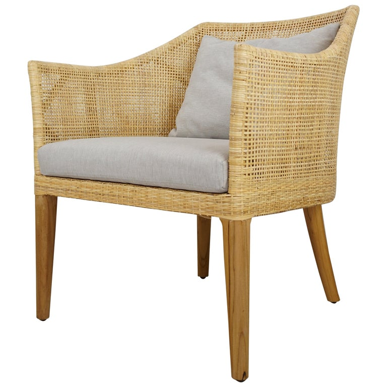 Rattan and Teak Wooden Armchair For Sale