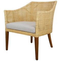 Rattan and Teak Wooden Armchair