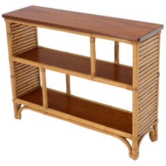 Rattan and Walnut Mid-Century Modern Console Table Shelf Bookcase