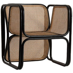 Rattan and Wicker Armchair Jan Bocan Style
