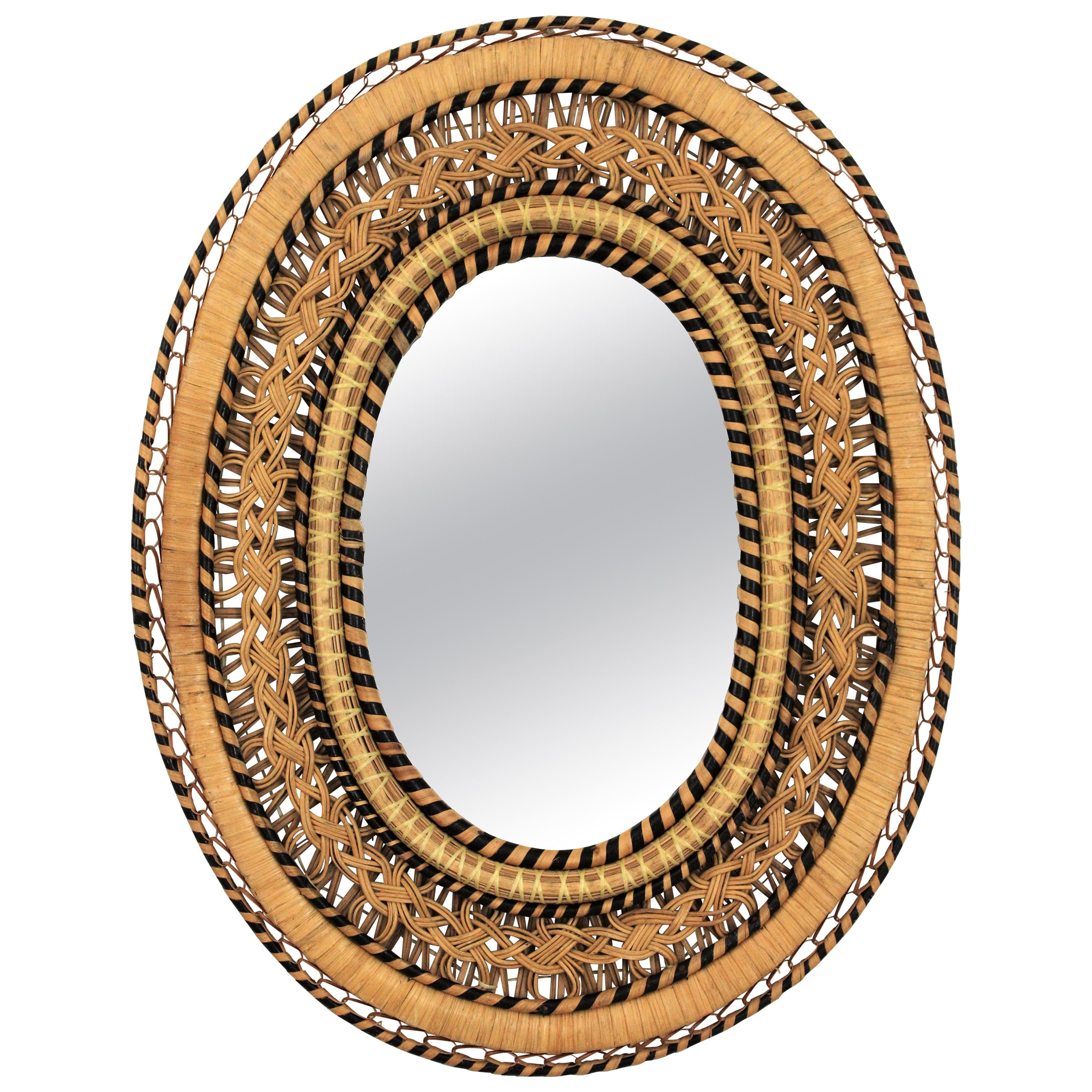Rattan and Wicker Braided Emmanuelle Peacock Oval Mirror, 1970s