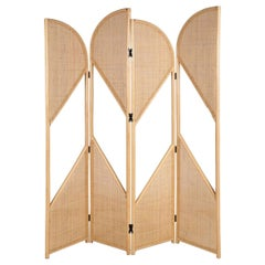 Rattan and Wicker Cane Folding Screen Divider