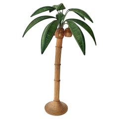 Rattan and Wicker Palm Tree Floor Lamp