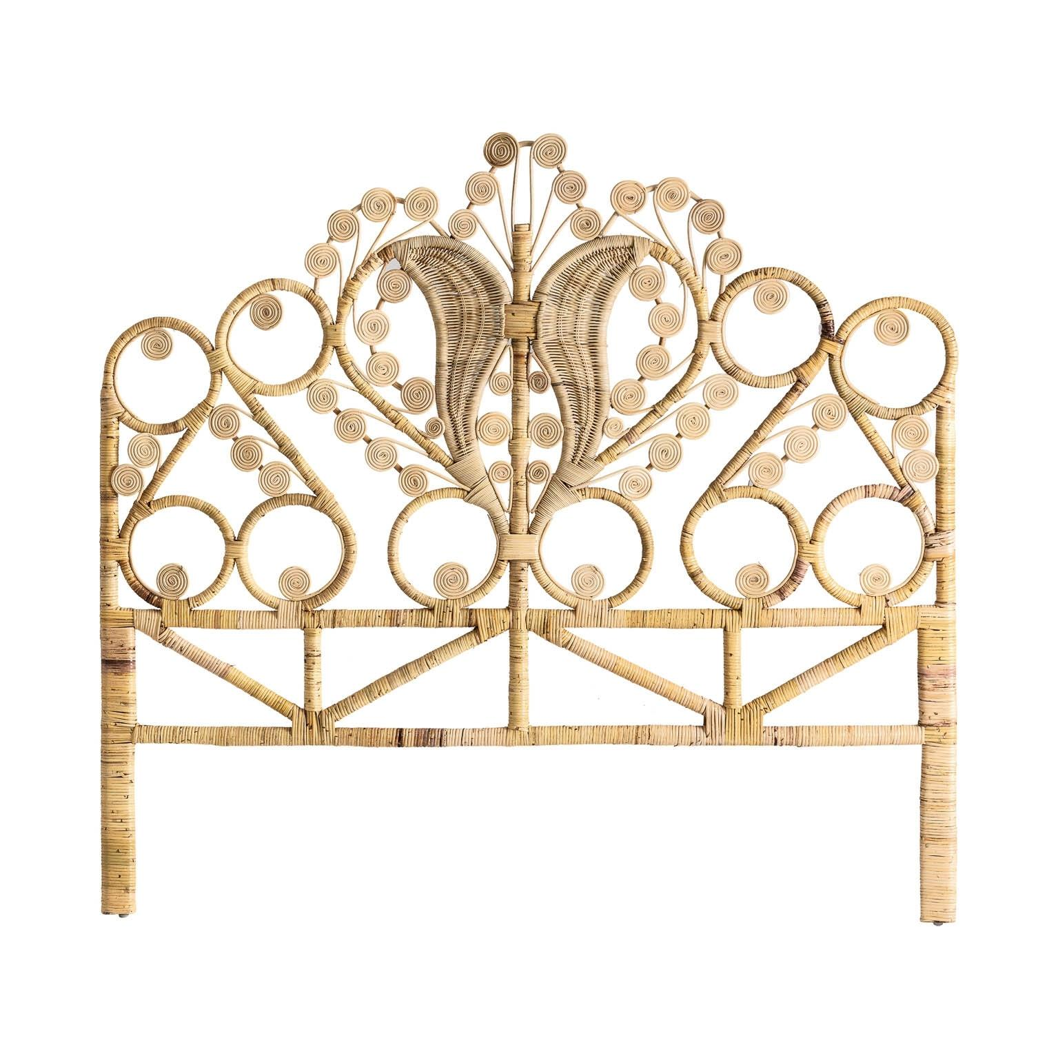 Rattan And Wicker Peacock Queen Size Headboard For Sale At 1stdibs