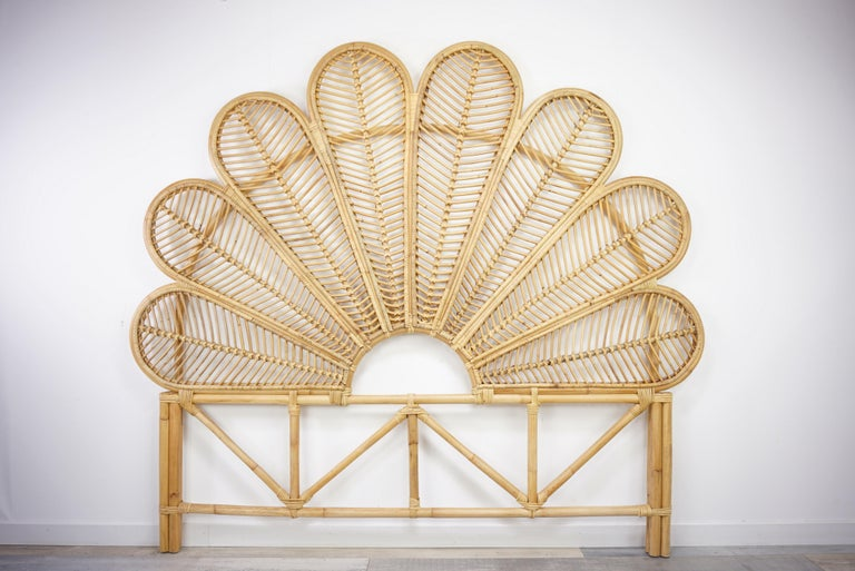 Rattan and Wicker Queen Size Headboard For Sale 4