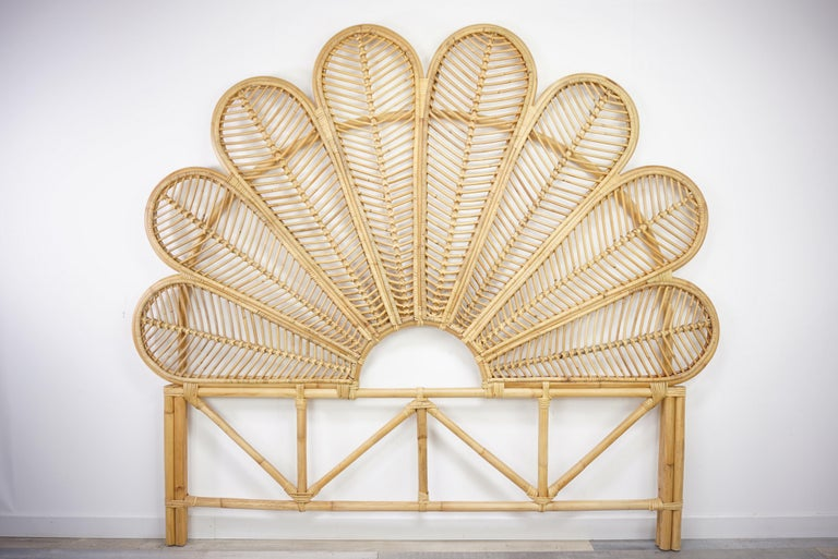 Rattan and wicker headboard for queen size bed.