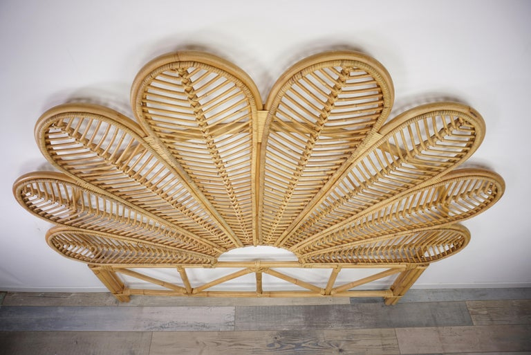 Mid-Century Modern Rattan and Wicker Queen Size Headboard For Sale