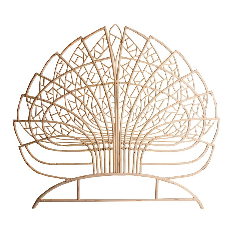 Rattan and Wicker Queen Size Headboard In New Condition For Sale In Halluin, FR