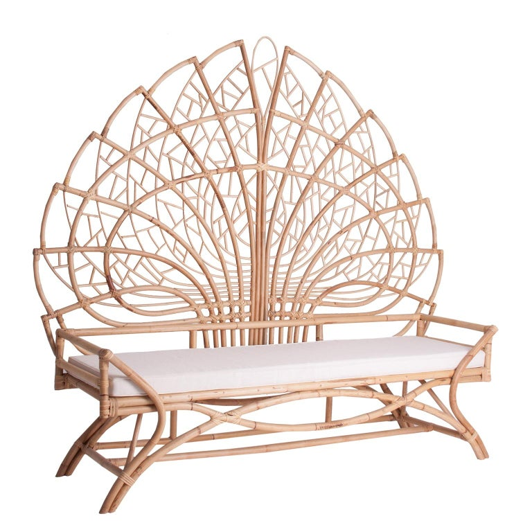 Contemporary Rattan and Wicker Queen Size Headboard For Sale