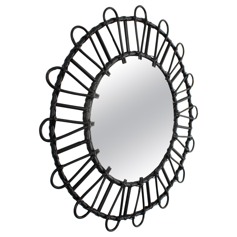 Rattan Sunburst Mirror in Black Patina