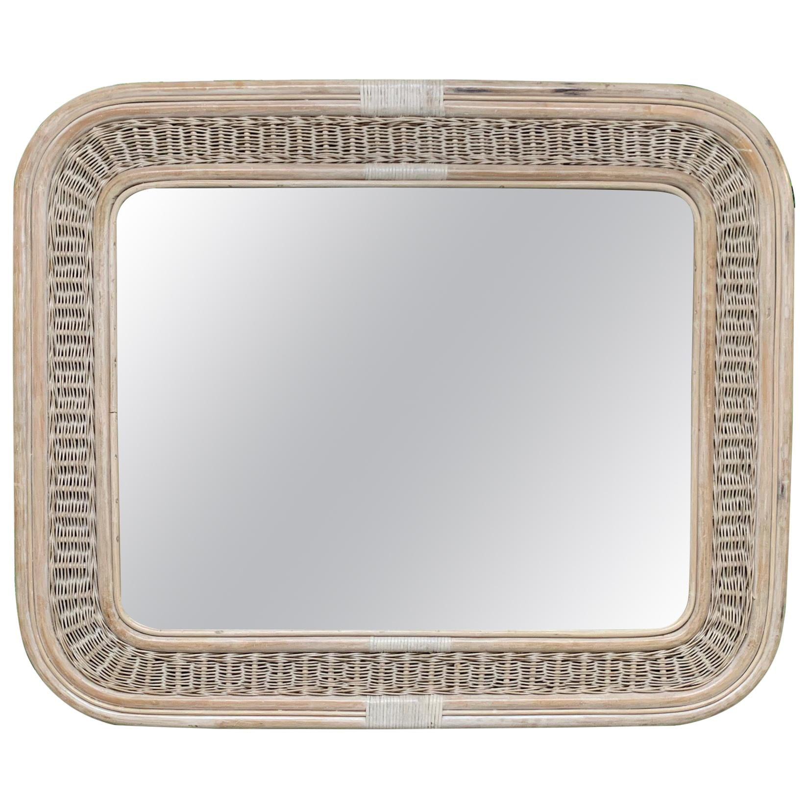 Rattan and Wicker Wall Mirror