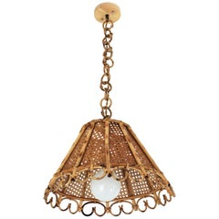 Rattan and Wicker Wire Italian Modernist Conic Pendant / Hanging Light, 1960s