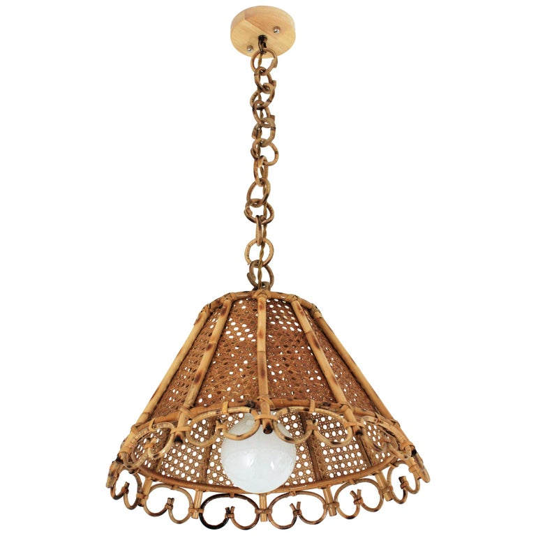 Italian rattan and wicker hanging light, 1960s, offered by LALITHAMMA BARCELONA