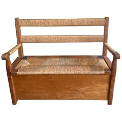 Rattan and Wood Bench