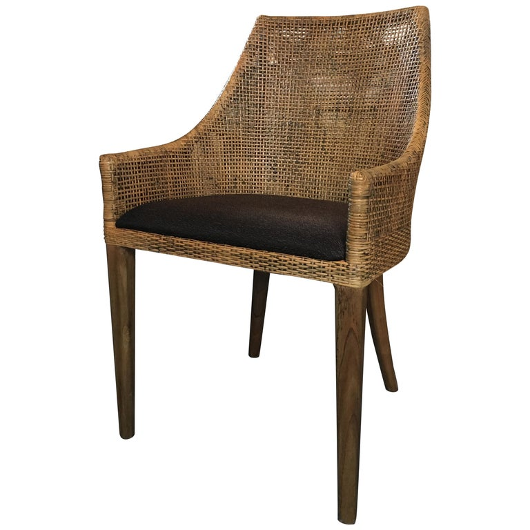 Rattan and Wooden French Design Dining Armchair at 1stdibs