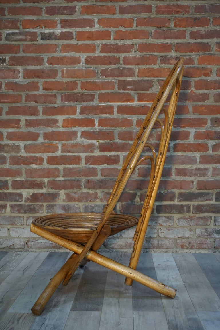 Mid-Century Modern Rattan and Wooden Lounge and Outdoor Four Armchairs For Sale