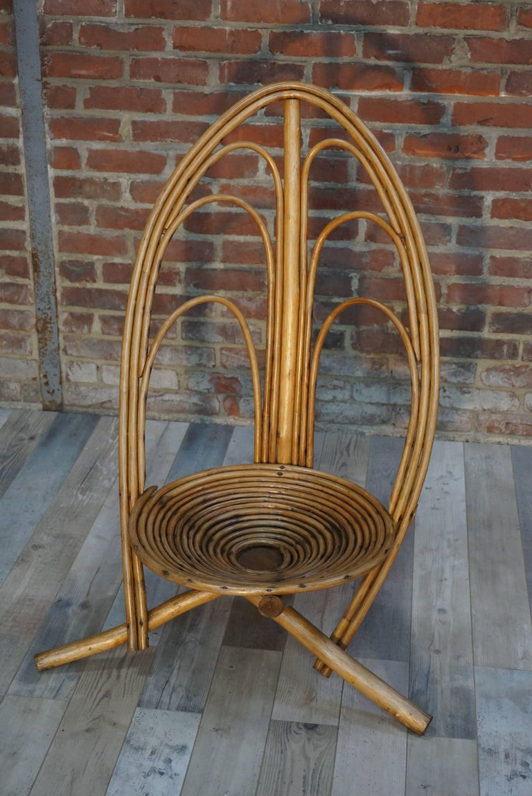 African Rattan and Wooden Lounge and Outdoor Four Armchairs For Sale