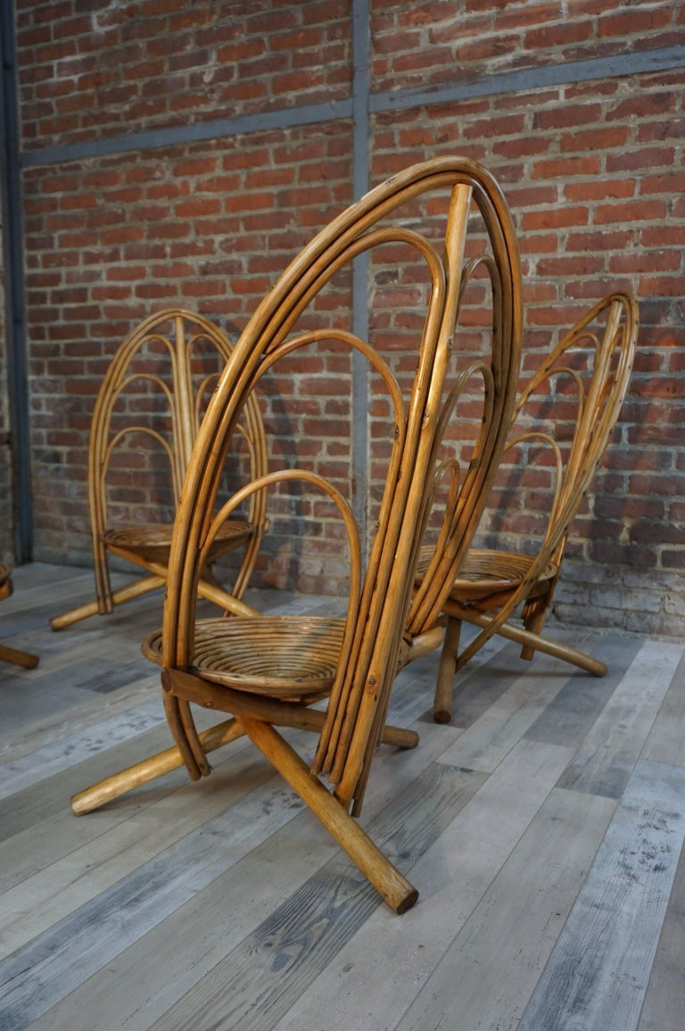 Rattan and Wooden Lounge and Outdoor Four Armchairs In Excellent Condition For Sale In TOURCOING, FR