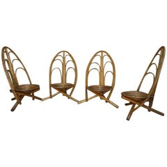 Rattan and Wooden Lounge and Outdoor Four Armchairs