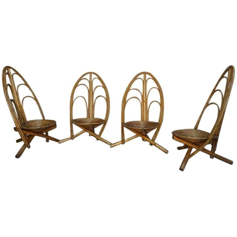 Rattan and Wooden Lounge and Outdoor Four Armchairs For Sale