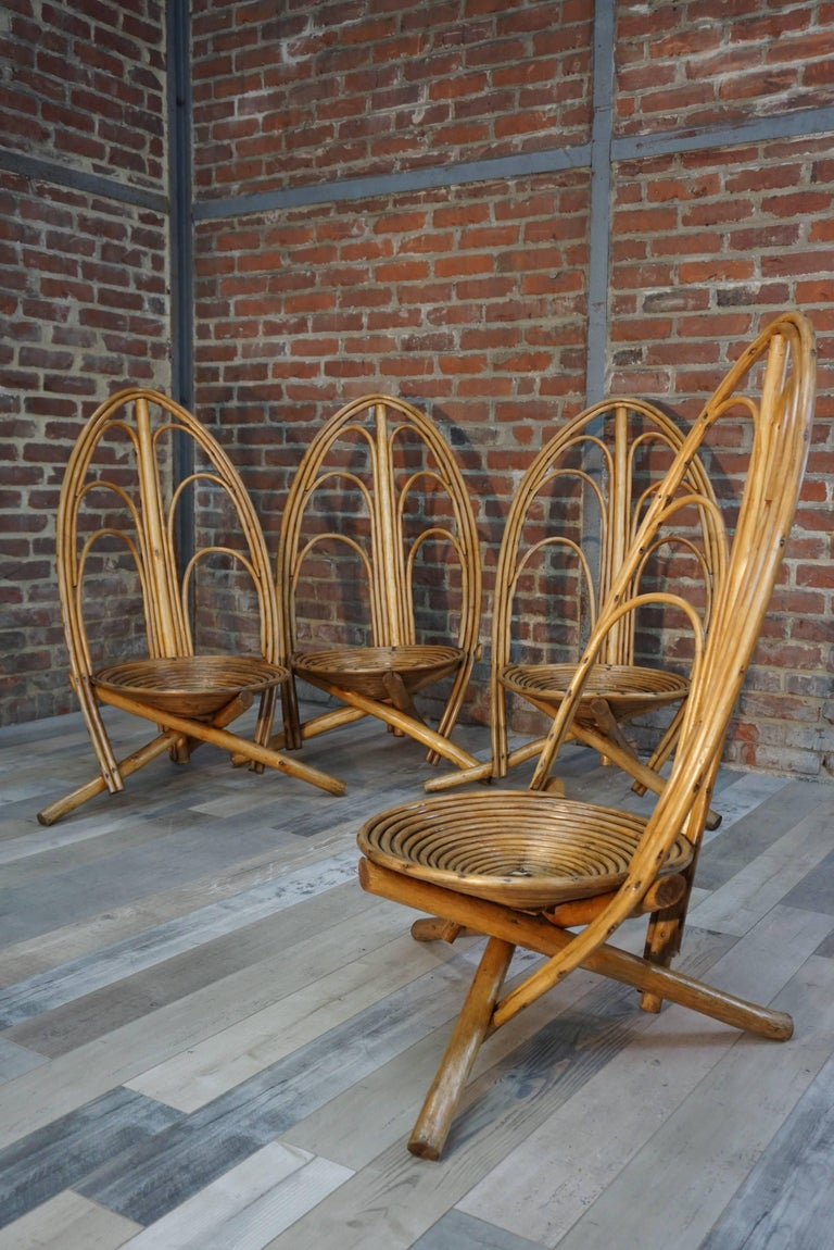 20th Century Rattan and Wooden Lounge and Outdoor Seating Set of 4 Armchairs For Sale