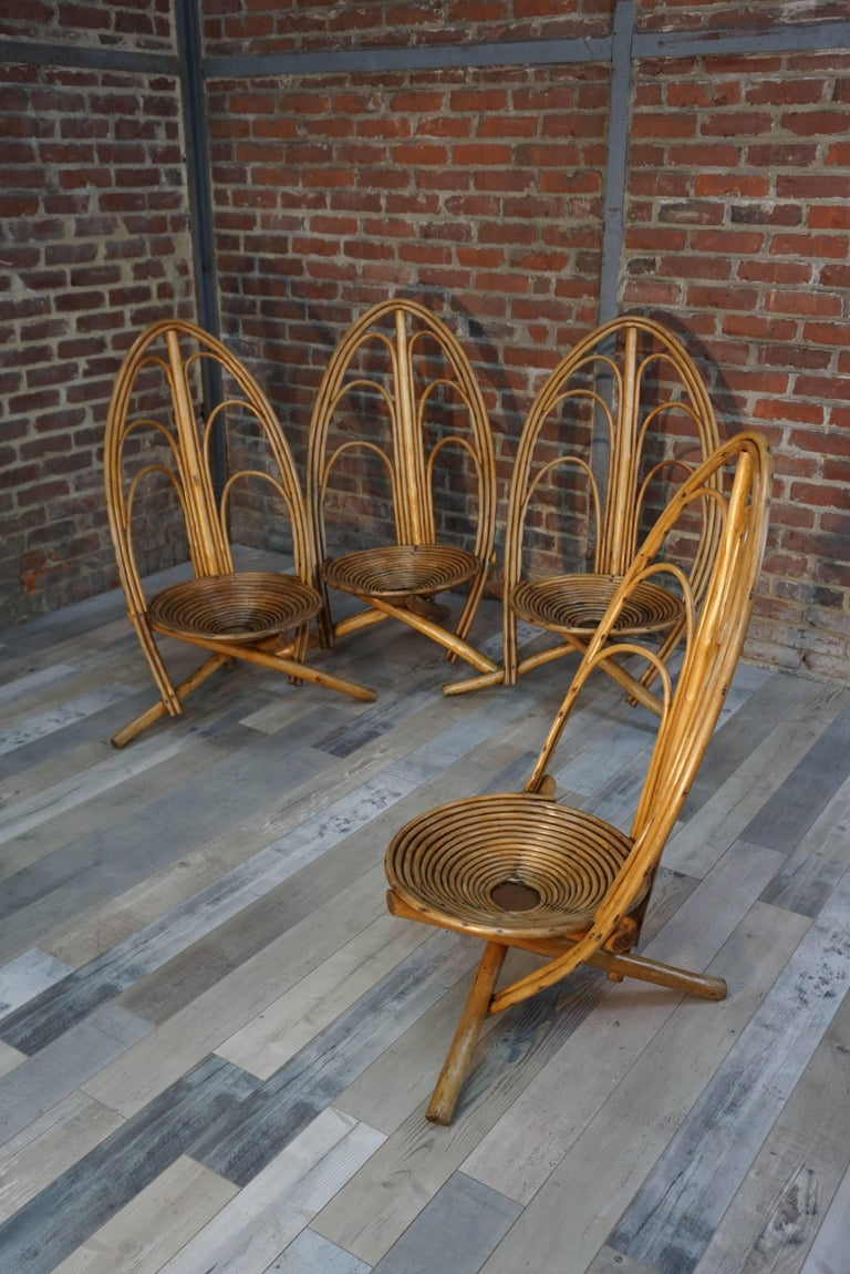 Bamboo Rattan and Wooden Lounge and Outdoor Seating Set of 4 Armchairs For Sale