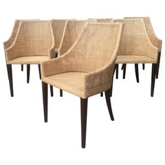 Rattan and Wooden Set of 8 Dining Armchairs French Design