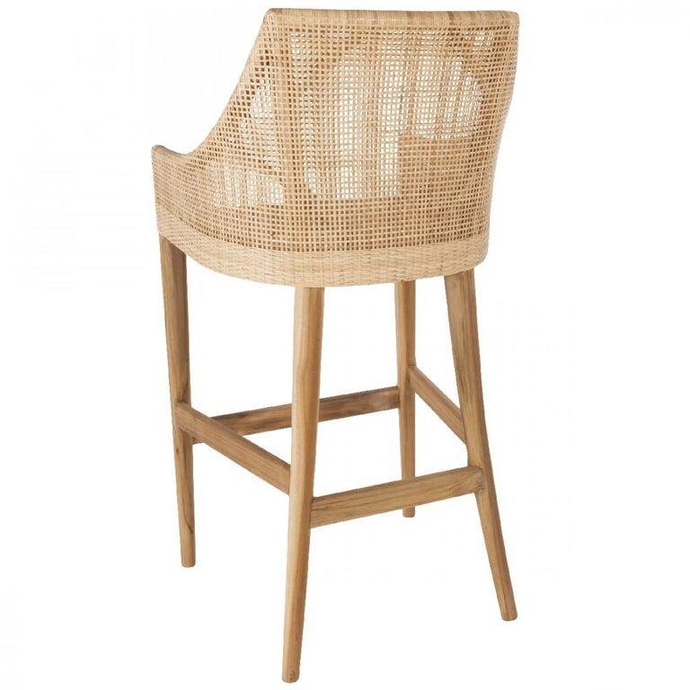French Rattan and Wooden Set of Four Bar Stools For Sale