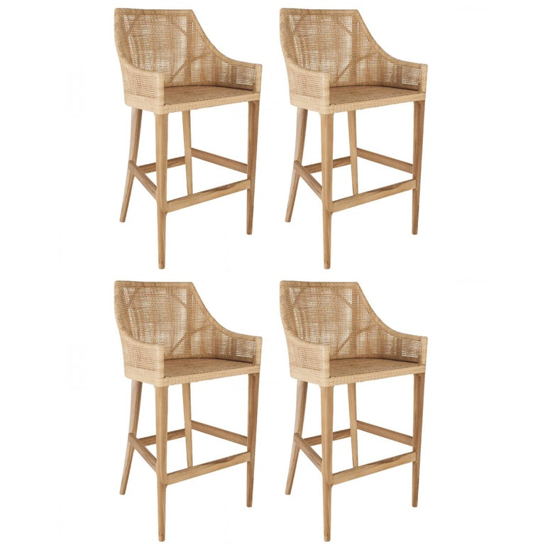 Rattan and Wooden Set of Four Bar Stools For Sale