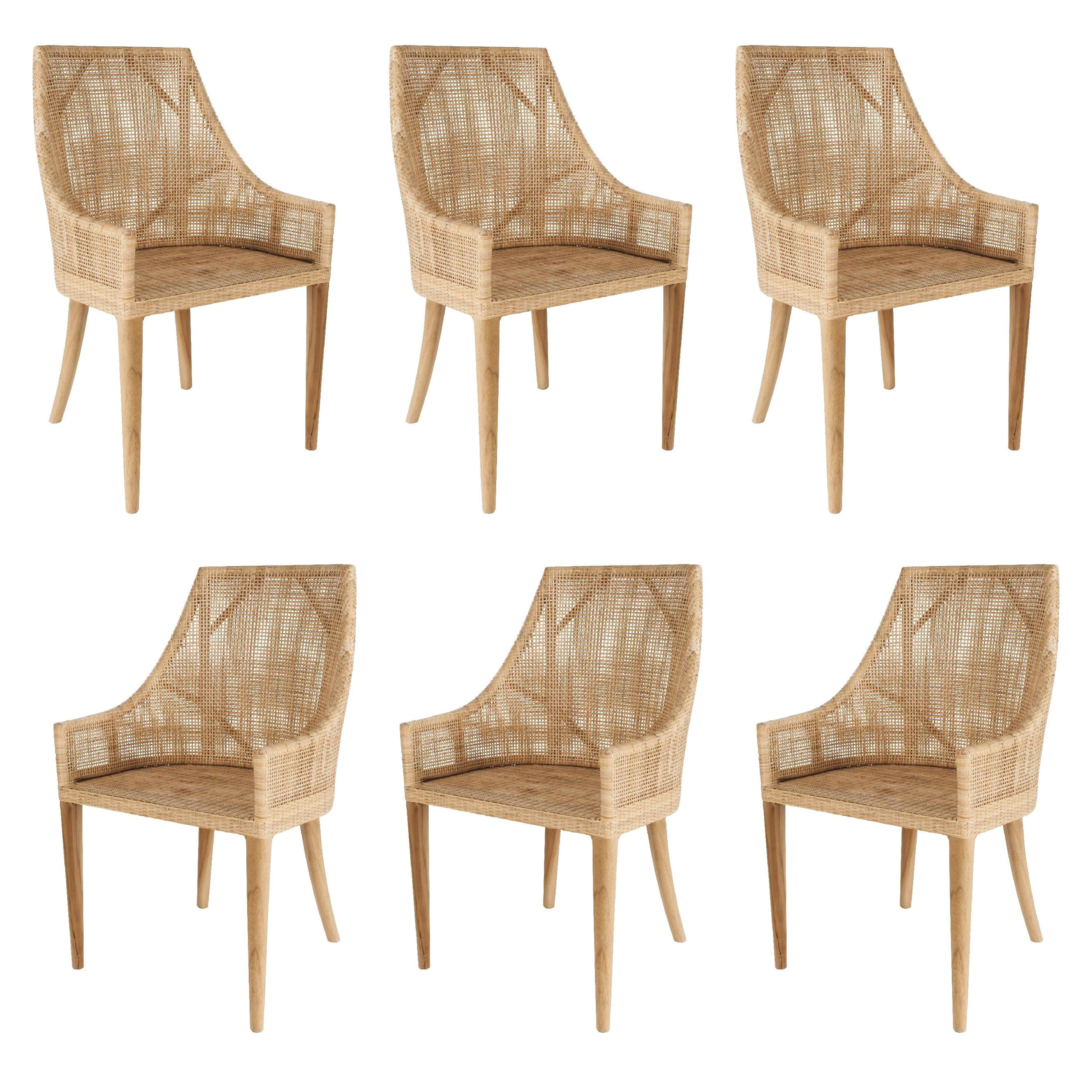 Rattan and Wooden Set of Six Armchairs