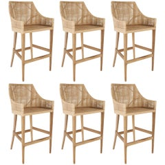 Rattan and Wooden Set of Six High Bar Stools
