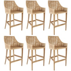 Rattan and Wooden Set of Six Bar Stools