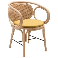 Rattan and Woven Cane Armchair French Modern Design