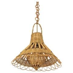 Rattan and Woven Wicker French Modern Oriental Style Pendant Lamp / Lantern
