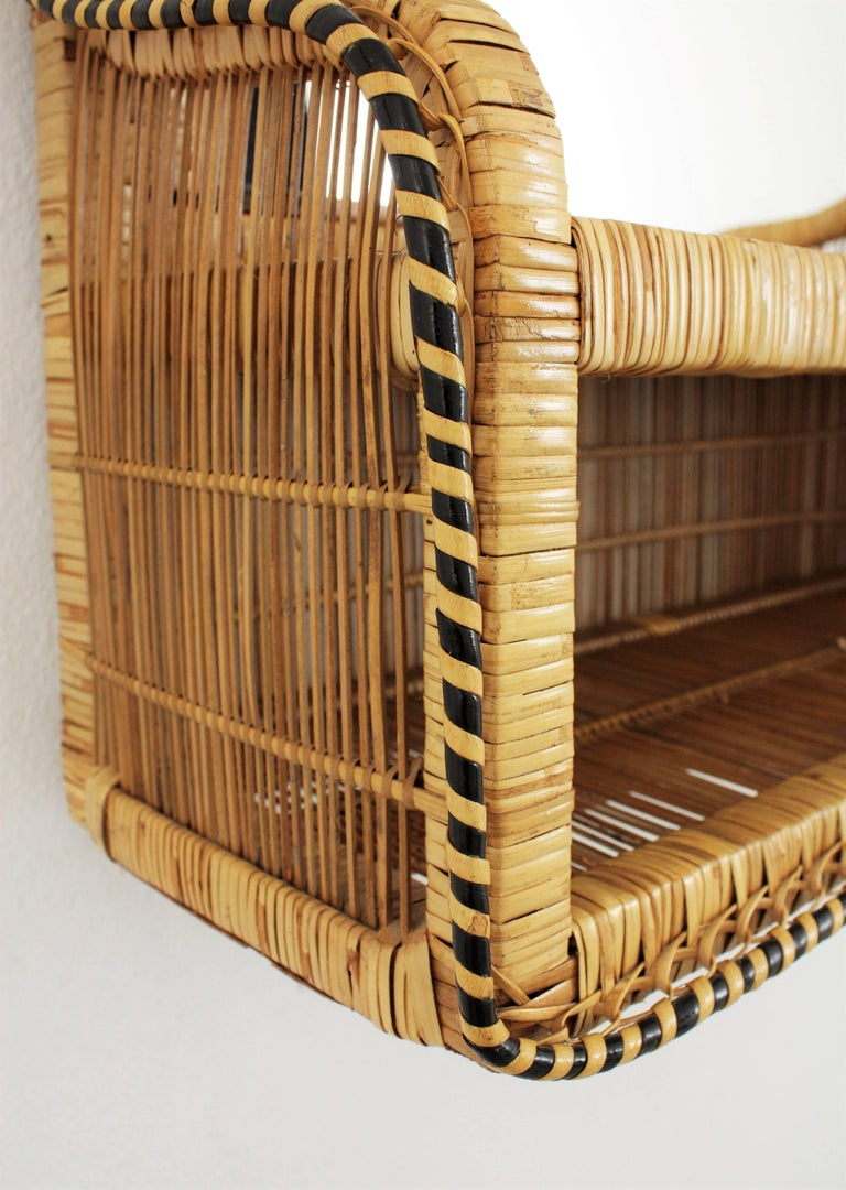 Rattan and Woven Wicker Wall Shelf Mirror, 1970s For Sale 4