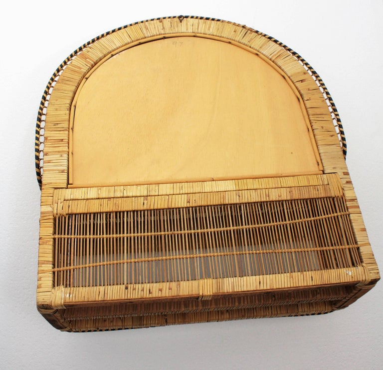 Rattan and Woven Wicker Wall Shelf Mirror, 1970s For Sale 5