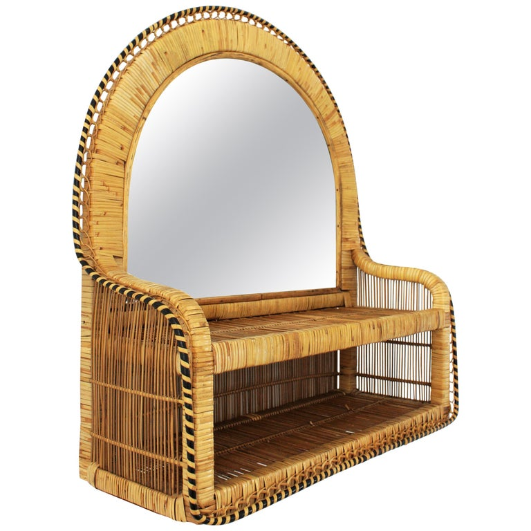 Mid-Century Modern Rattan and Woven Wicker Wall Shelf Mirror, 1970s For Sale