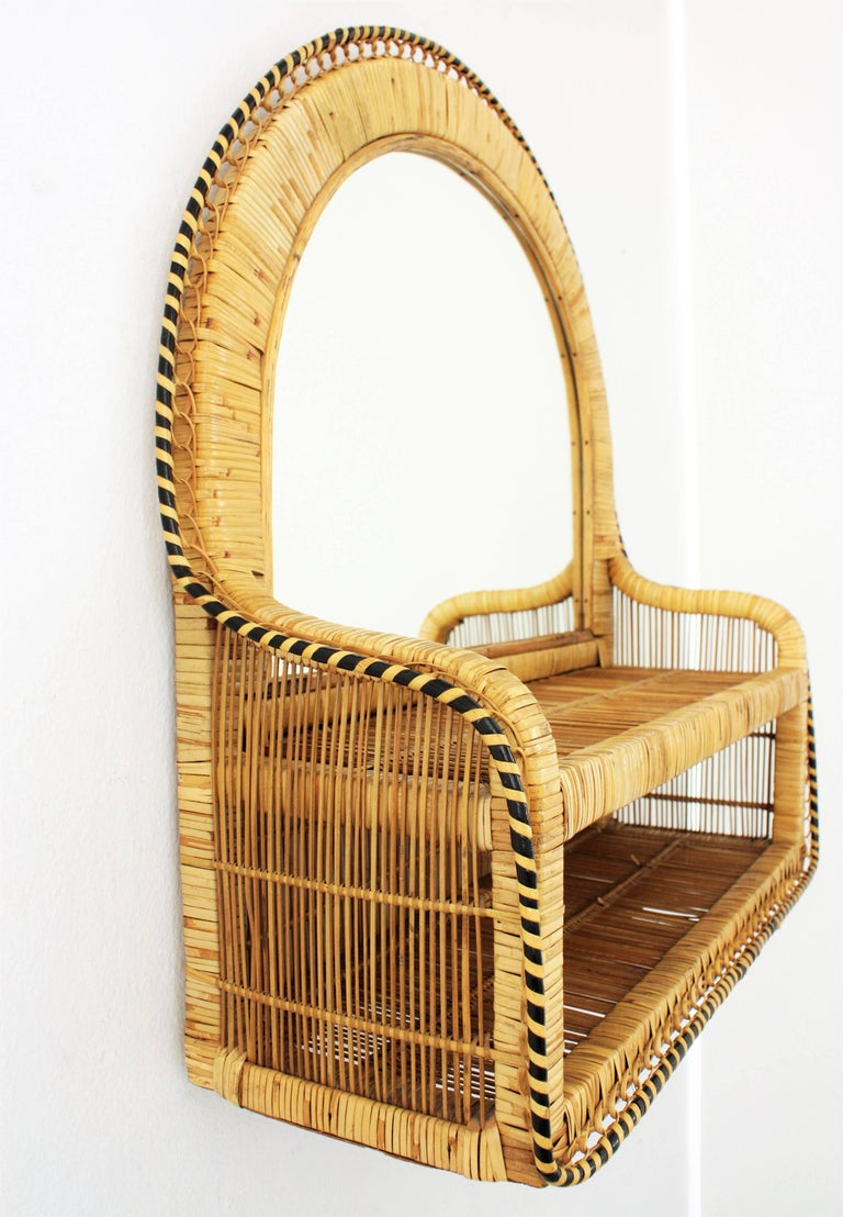 Hand-Crafted Rattan and Woven Wicker Wall Shelf Mirror, 1970s For Sale