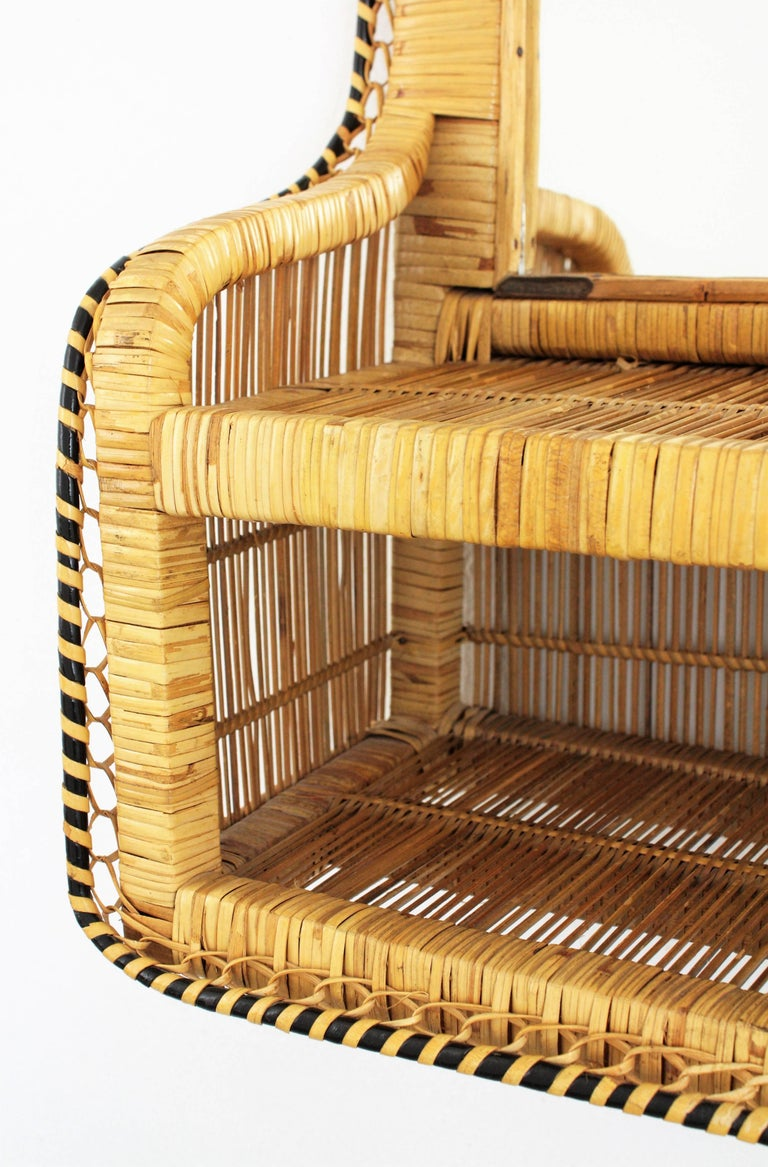 20th Century Rattan and Woven Wicker Wall Shelf Mirror, 1970s For Sale