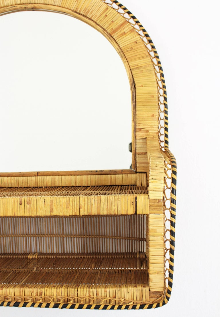 Rattan and Woven Wicker Wall Shelf Mirror, 1970s For Sale 1