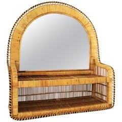 Rattan and Woven Wicker Wall Shelf Mirror, 1970s
