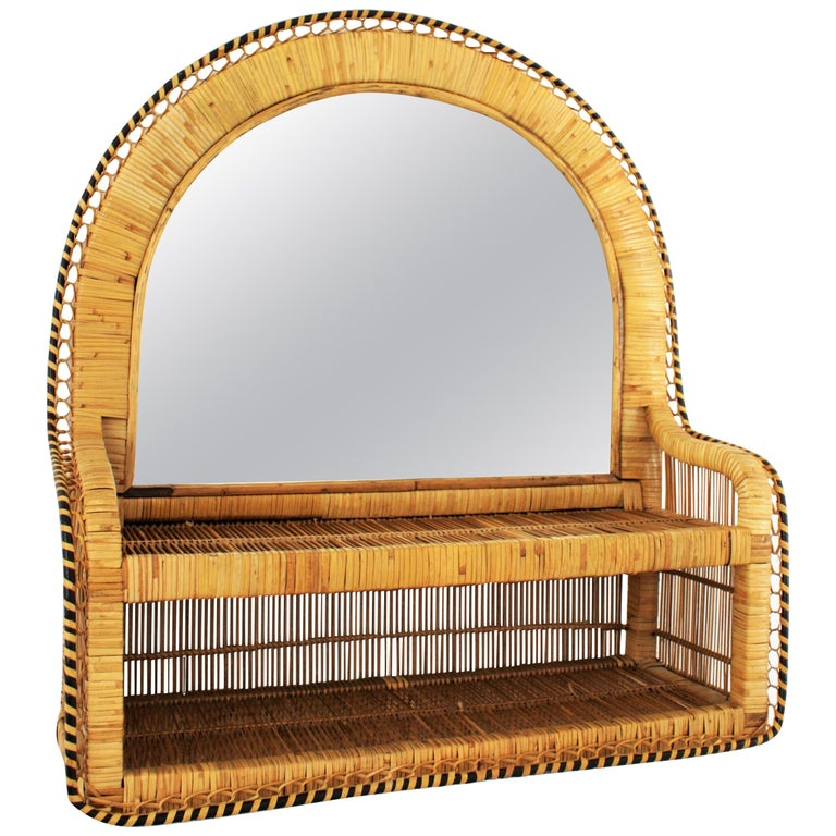 Rattan and Woven Wicker Wall Shelf Mirror, 1970s For Sale