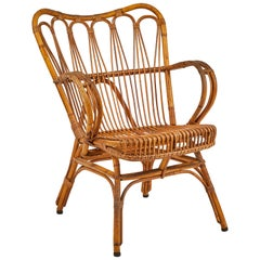 Mid Century French Rattan Arm Chair