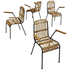 Rattan Armchairs, Set of Four, circa 1950, France